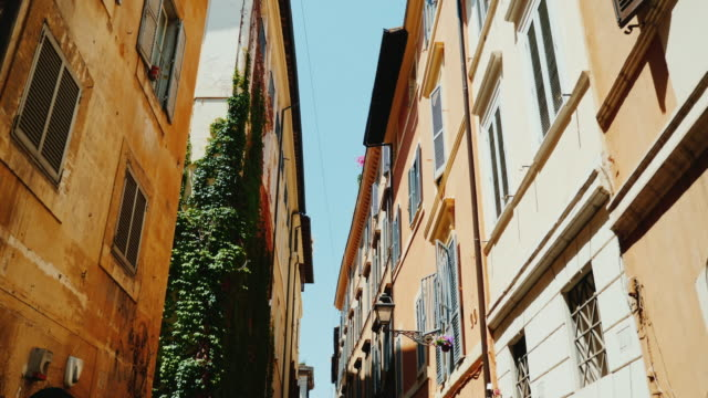 A cozy narrow street in the old historical part of Rome