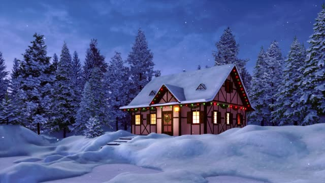 gemütlicherustikale haus dekoriert für weihnachten bei schneefall winternacht - blockhütte stock-videos und b-roll-filmmaterial