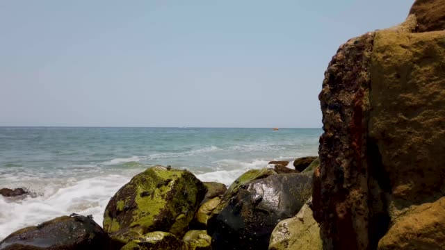 Crabs crawling over rocks footage, taken on the beautiful beach of Puerto Vallarta in Mexico, the town is on the Pacific coast in the state known as Jalisco