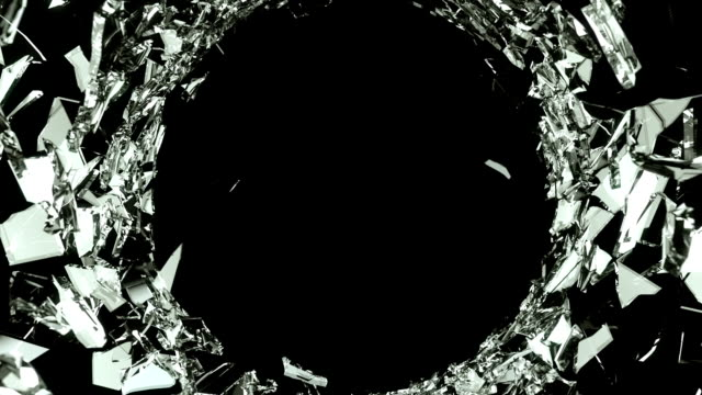 Cracked and Shattered black glass with slow motion. Alpha video