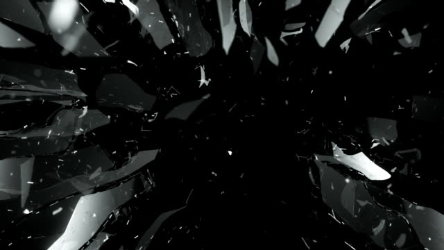 Cracked and Shattered black glass with slow motion