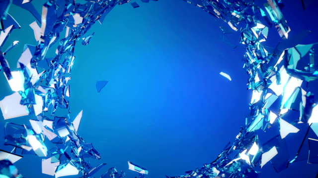 Cracked and Shattered blue glass with slow motion. Alpha video