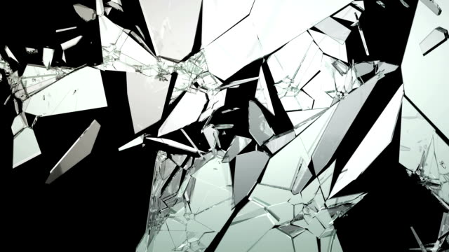 Cracked and Shattered glass with slow motion. Alpha video