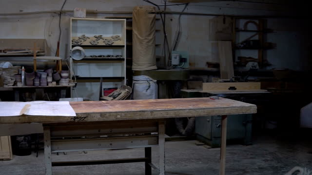 Craft Carpentry Workshop. Working place for wood processing Craft Carpentry Workshop. Overview of the working place for wood processing workbench stock videos & royalty-free footage