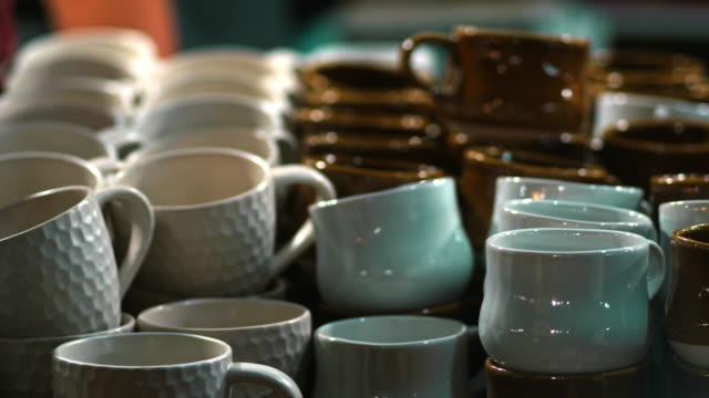 Craft Crockery Ceramics At Flea Market Traditional Craft Product collection stock videos & royalty-free footage