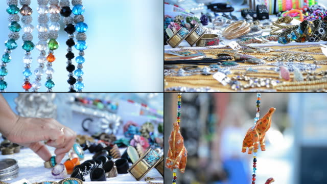 4K Craft stall hawking, hippies and tribal necklaces hanging in stall hawking crafts in format 4K video