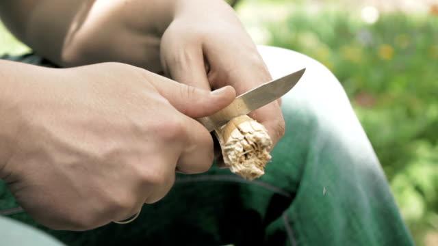 vídeos de stock e filmes b-roll de mãos de artesão de madeira esculpida me com uma faca. - swiss army knife