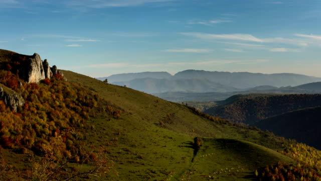 Craggy hillside Transylvania landscape in Autumn video
