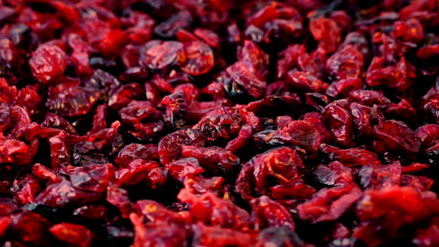 Cranberries In Pile Rotating Pile of dried cranberries turning slowly dry stock videos & royalty-free footage