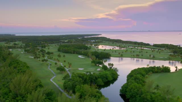 AERIAL Crandon Golf at Key Biscayne at sunset