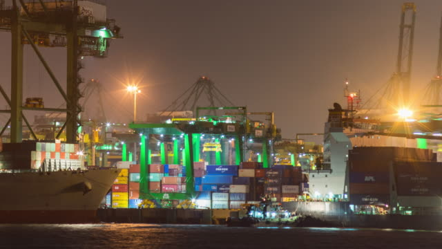 Crane and Container Ship in Industrial Port at Night, Singapore, Night Time Lapse Video