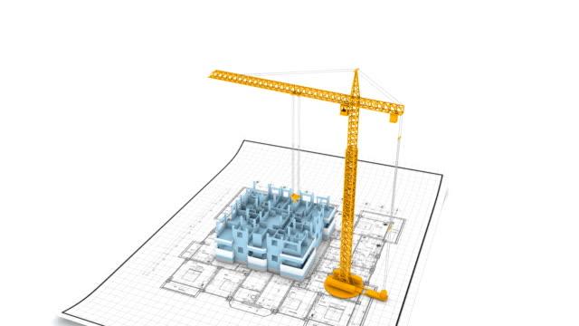 Crane building apartments timelapse. HD1080p. video