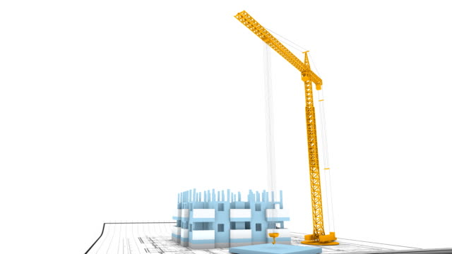Crane building apartments timelapse video