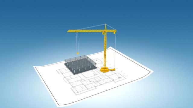 Crane building apartments timelapse video