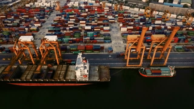 Crane loading cargo containers in freight ship video