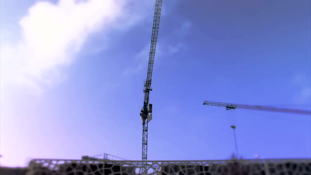 Crane on construction Crane on construction place crane construction machinery stock videos & royalty-free footage