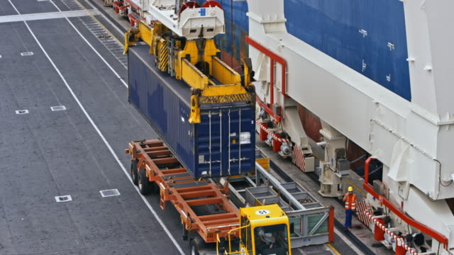 Crane placing a shipping container onto a truck at the container terminal