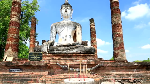 Crane shot: Big buddha in Sukhothai historical park Thailand Crane shot: Big buddha in Sukhothai historical park Thailand, High Definition 1280x720 Format sukhothai stock videos & royalty-free footage
