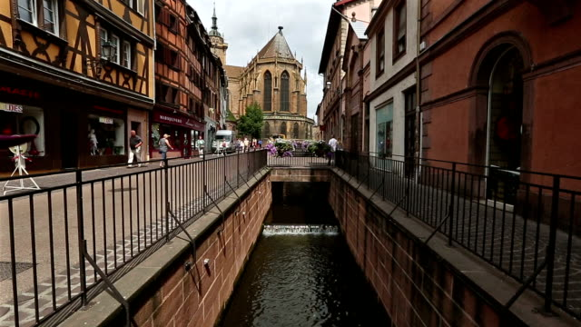 crane shot: Colmar Village Cityscape Alsace France in Summer