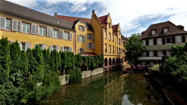 crane shot: colmar village cityscape alsace france in summer - french architecture stock videos & royalty-free footage