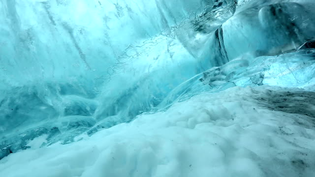HD crane shot: Ice Cave at vatnajokull Glacier jokulsaron Iceland video