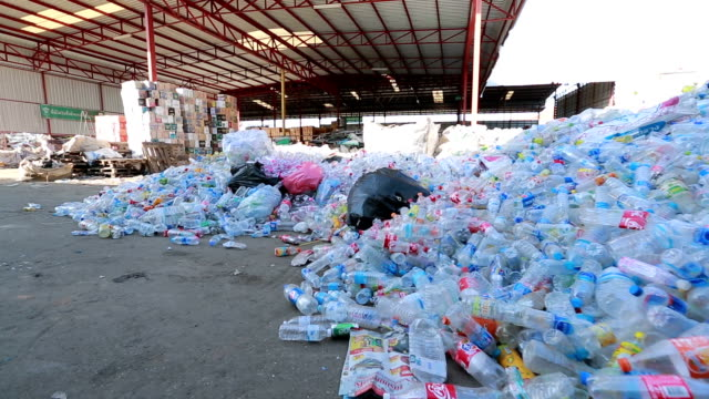 Crane Shot Piles of plastic bottles in recycling center video