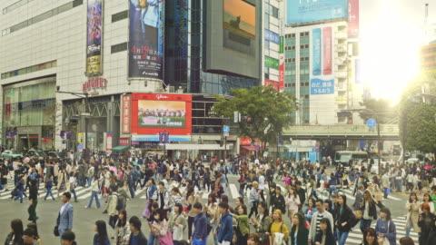 vidéos et rushes de vidéo de grue de shibuya crossing intersection crowd au coucher du soleil - japon