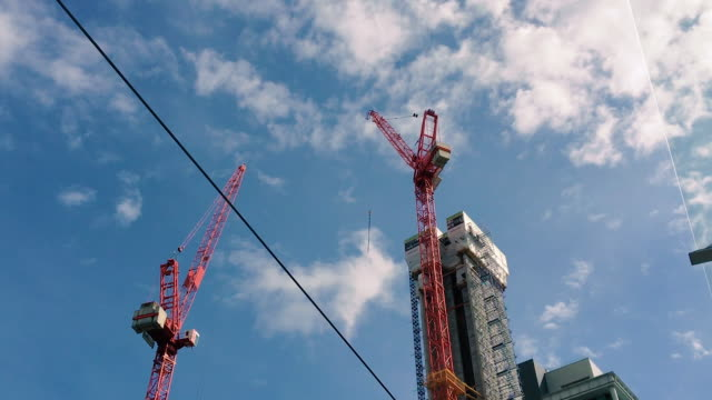 Cranes and Buildings Stand out against a Birmingham skyline video