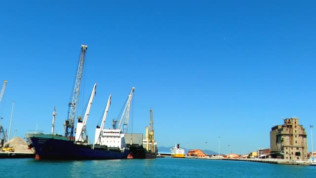 cranes working in the harbor unloading a bulk carrier ship - chiatta video stock e b–roll