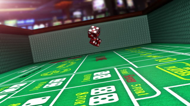 craps table slow motion casino gambling - rotolare video stock e b–roll