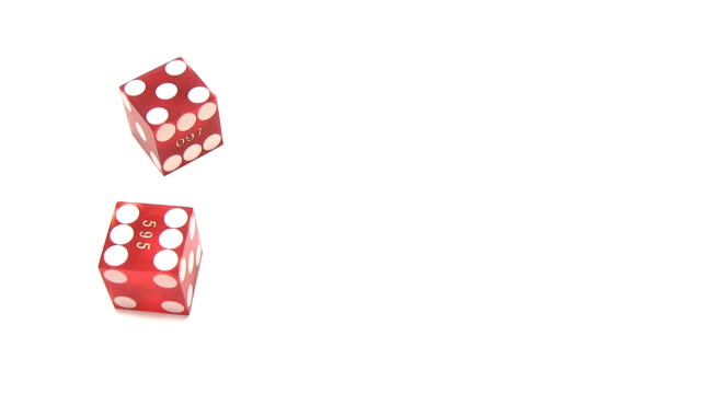 Craps - two red dice on white background video