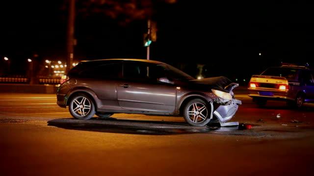 Crash  at night road video