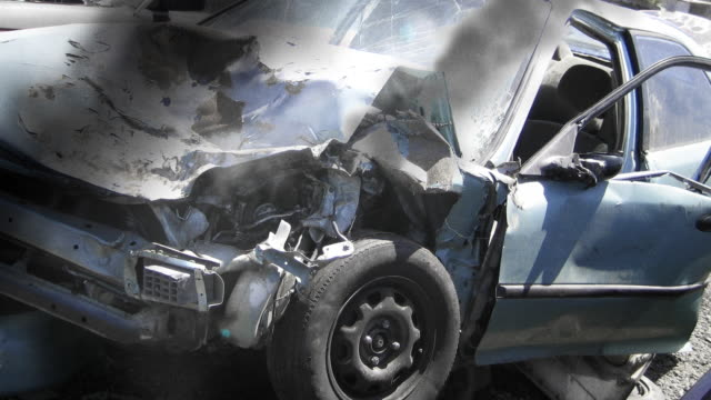Crashed Car in Traffic Accident video