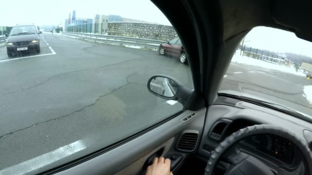 POV Crashing into the car in front in the crossroad