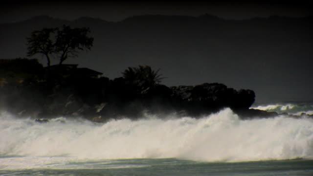Crashing waves and stormy skies  big island hawaii islands stock videos & royalty-free footage