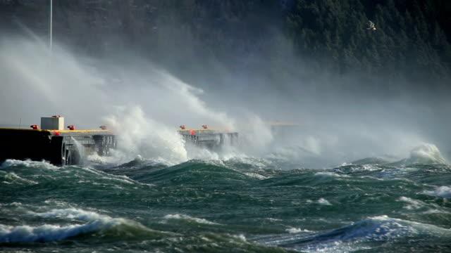 crashing waves on pier docks, sea spray, hurricane gale force wind storm, bird coasting, Iceland