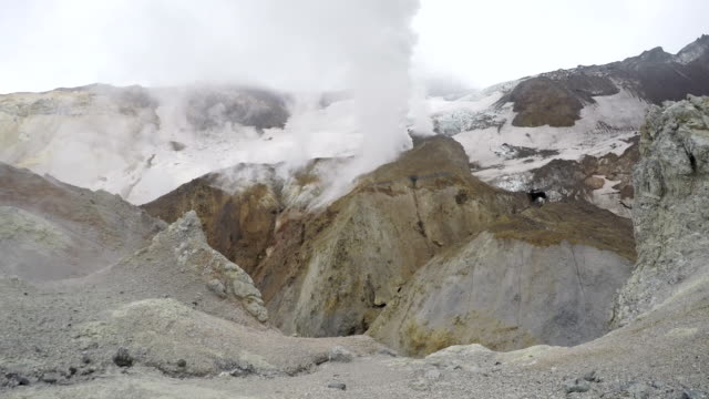 Crater of active volcano: hot spring, fumarole, thermal field video