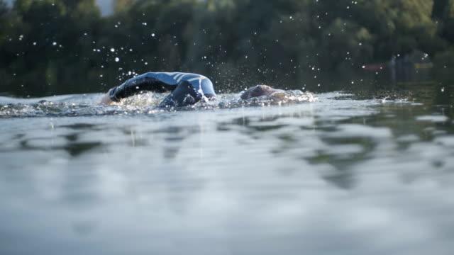 vídeos de stock e filmes b-roll de crawl swimming in the lake - swim arms