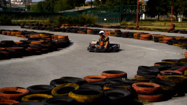 Crazy drive and adrenaline attack-go carting drive Crazy drive and adrenaline attack-go carting drive go cart stock videos & royalty-free footage