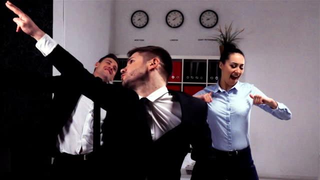 Crazy happy businessman dancing video
