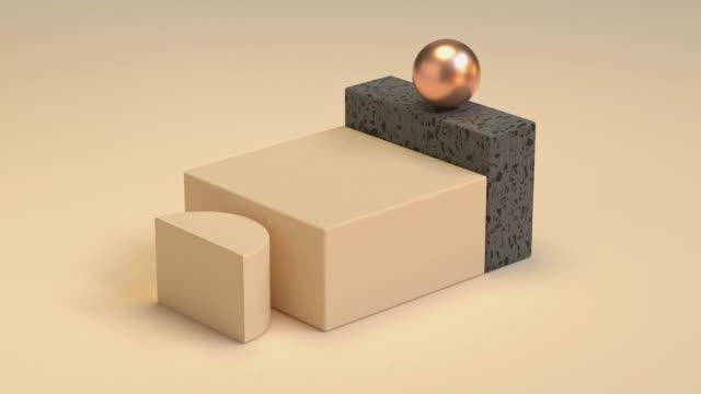 creme farbe/weich gelbe geometrische szene flachen boden schwarzen marmor form und metallische gold/copper 3d rendering bewegung abstrakt - quadratisch komposition stock-videos und b-roll-filmmaterial