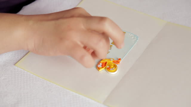 Creating greeting card: sticking pre-cut letters on paper, handmade video