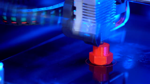 Creating plastic model on a 3D printer in process video