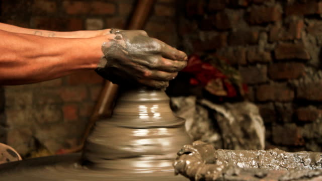 Creation of a clay pot. Mid shot 2. video