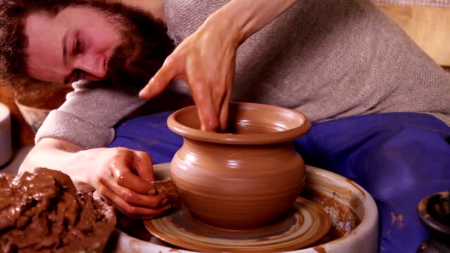 Creation of traditional clay pot video