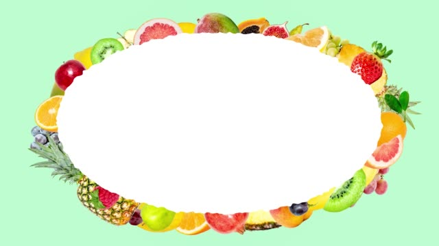Creative 4k stop motion animation of many different fruits flying from the center and slowing down around a beautiful oval frame with space for text and flying fast. Fruit explosion on a soft green.