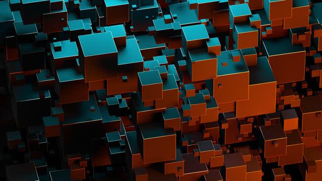 幾何学的形状を回転させる創造的な抽象的な背景。変換図、現代のトレンディなデザイン、ブロック構造。デジタル技術構成、ネオンカラー。4kシームレスループ - 立方体点の映像素材/bロール