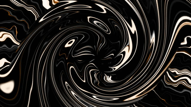 Creative abstract twisted lines flowing fast loop background. Dynamic swirl pattern with lines and light ripple. Black white yellow futuristic stream. Seamless looping 4k animation ornament effect.