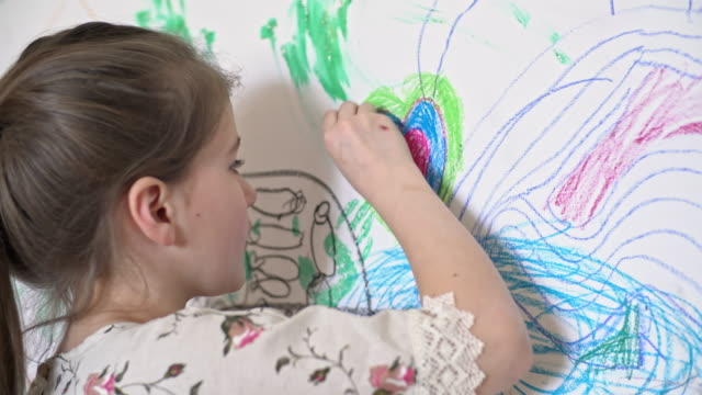 Creative Child Drawing on Wall video