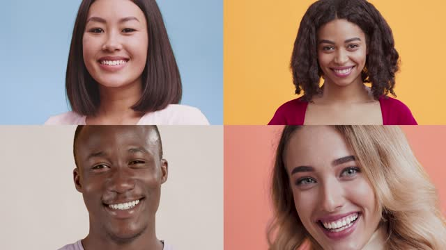 Creative collage of young playful diverse people smiling and winking at camera over colorful background Creative collage of young playful diverse people smiling and winking at camera over colorful backgrounds, affection and flirt concept, slow motion mosaic stock videos & royalty-free footage